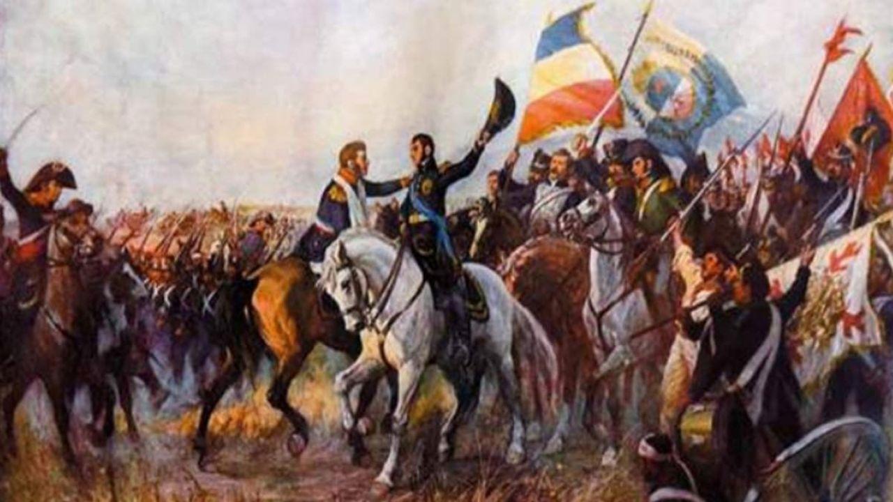 El abrazo de Maipú entre San Martín y O'Higgins