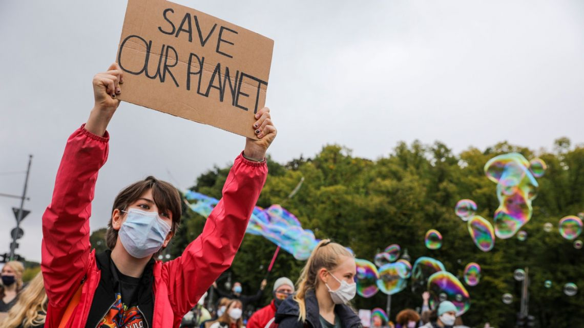 Demonstrators at a climate change protest.