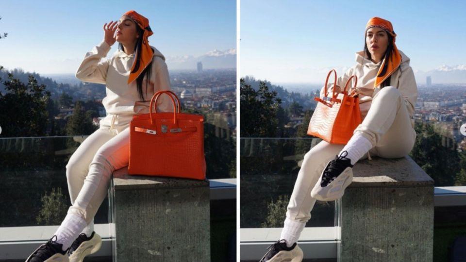 Georgina Rodríguez, la novia argentina de Ronaldo, adelantó su nuevo proyecto y posó con su cartera de 45 mil dólares.