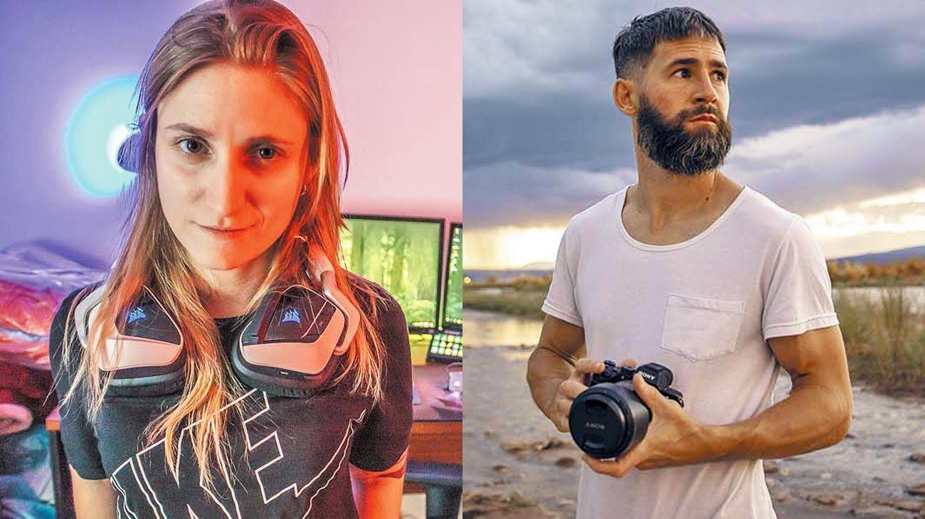 Ejemplos. Coni Luciani, streamer de Twitch, y Facundo Pérez Corbo, creador de videos con efectos especiales, son considerados microinfluencers en las redes.
