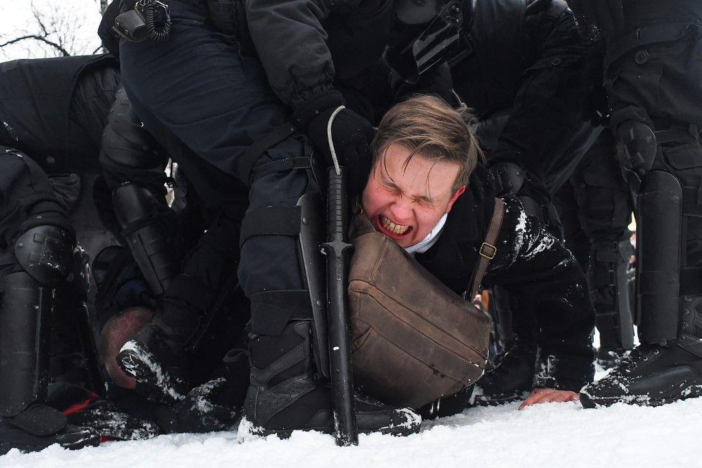 Protestas en Rusia contra la detención de Alexei Navalni el 31 de enero de 2020.