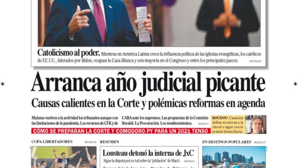 tapa Diario PERFIL domingo 31 de enero 2021