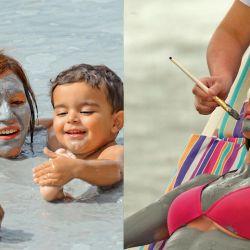 Izq.: la laguna del Chancho es la estrella de Copahue. Der.: máscara facial.