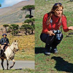 Izq.: por el pueblo pasan criollos a caballo.  Der.: junto a una casa mapuche los corderos juegan como perritos.