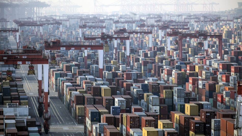 Views of the Yangshan Container Port Ahead of Trade Figures
