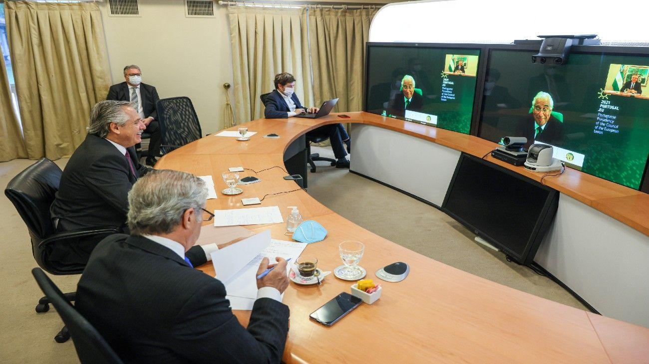 El presidente Alberto Fernández dialogó con el premier Costa, de Portugal.