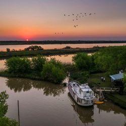 La embarcación Afrodita recorre el Delta del Paraná.