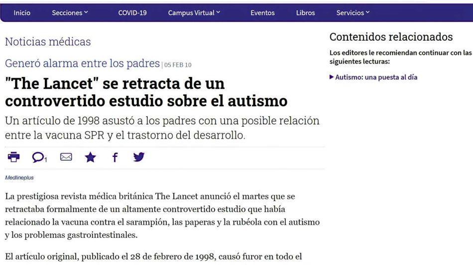 'The Lancet': vínculo errado de vacuna del sarampión, paperas y rubéola con el trastorno autista.