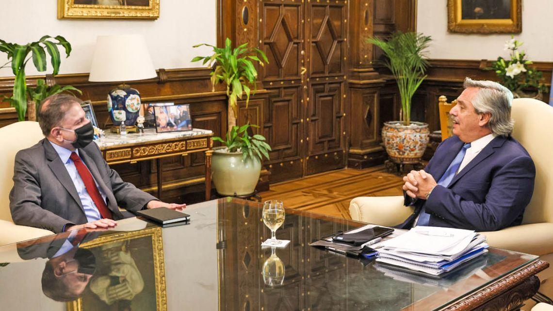 President Alberto Fernández meets with new Ambassador to Russia Eduardo Zuain on Thursday, three days after the new envoy's appointment.