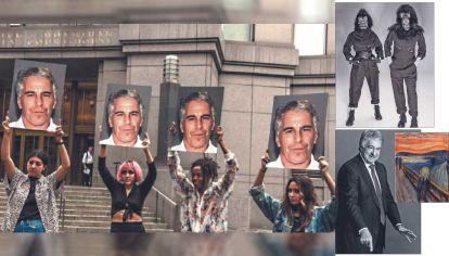 Protagonistas. Una manifestación contra Jeffrey Epstein (izq.). Leon Black y El grito, de Munch. y dos Guerrilla Girls (der.).