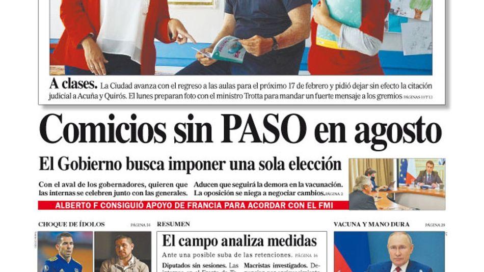 La tapa del Diario PERFIL del sábado 6 de febrero de 2021.