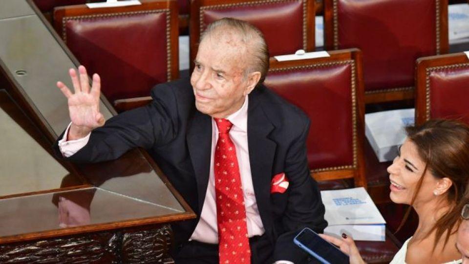 CARLOS MENEM. Una de sus últimas apariciones públicas fue en el Congreso de la Nación, en diciembre de 2019 cuando asumió el Presidente, Alberto Fernández.