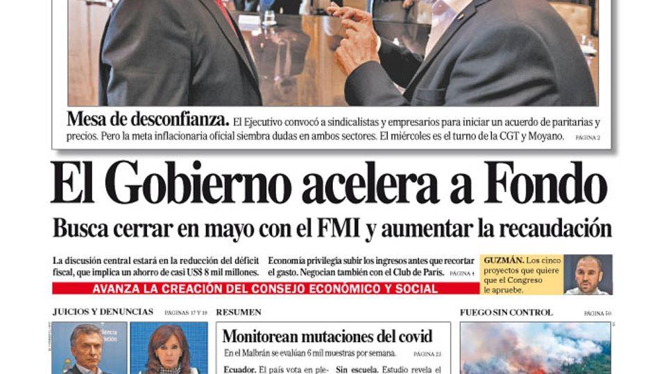 La tapa del Diario PERFIL de este domingo 7 de febrero de 2021.