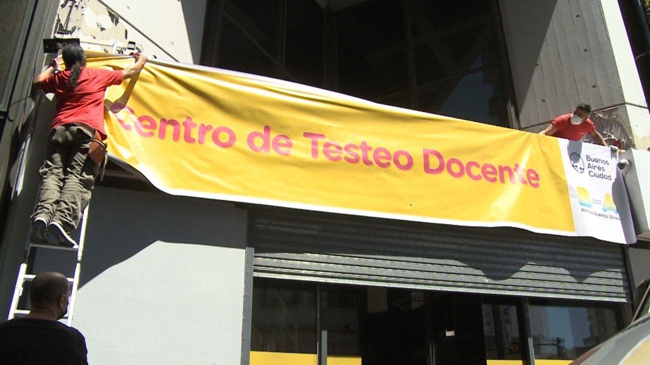 Centros acondicionados para realizar testeos a docentes en la Ciudad de Buenos Aires.