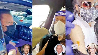 Vacunación. Arnold Schwarzenegger, Anthony Hopkins y Jane Fonda.