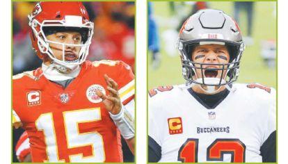 Figuras. Patrick Mahomes, mariscal de campo de Kansas, y Tom Brady, de Buccaneers. Las estrellas de este Super Bowl.