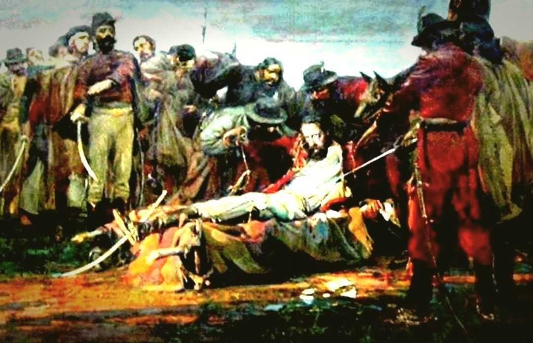 """""""La agonía y muerte de Güemes"""". Óleo, 1910, Antonio Alice"""