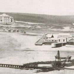 Vista de la playa Bristol, la más importante de Mar del Plata, en el año 1890.
