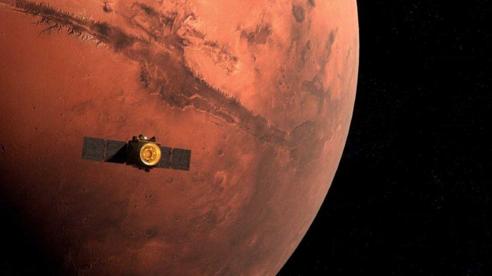 "La sonda ""Esperanza"" enviada por Emiratos Árabes Unidos al planeta Marte."