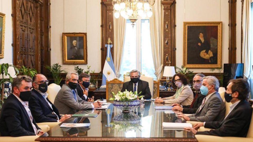 Alberto Fernández recibió a la Mesa de Enlace en la Casa Rosada.