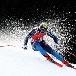 El sueco Felix Monsen corre durante una sesión de entrenamiento del evento de descenso masculino en la Copa del Mundo de Esquí Alpino FIS en Garmisch-Partenkirchen, en el sur de Alemania. | Foto:Christof Stache / AFP
