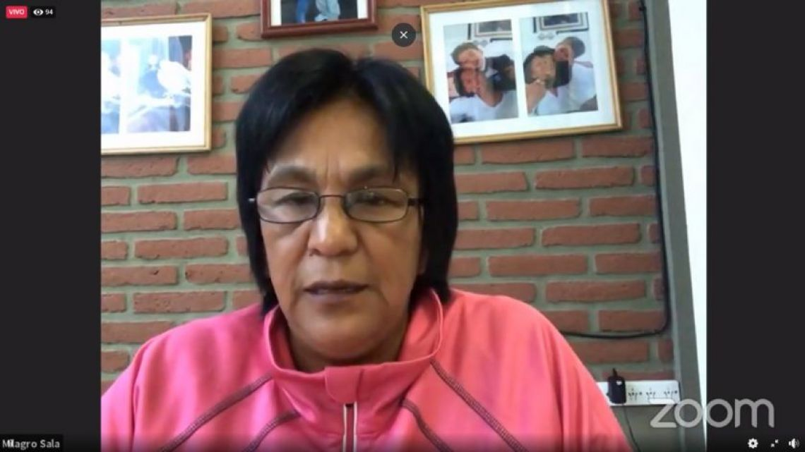 Milagro Sala, pictured in a Zoom videoconference call on Thursday.