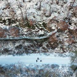 Una vista aérea muestra a personas paseando por un paisaje cubierto de nieve en el mar de Hengstey cerca de Hagen, en el oeste de Alemania. | Foto:Ina Fassbender / AFP