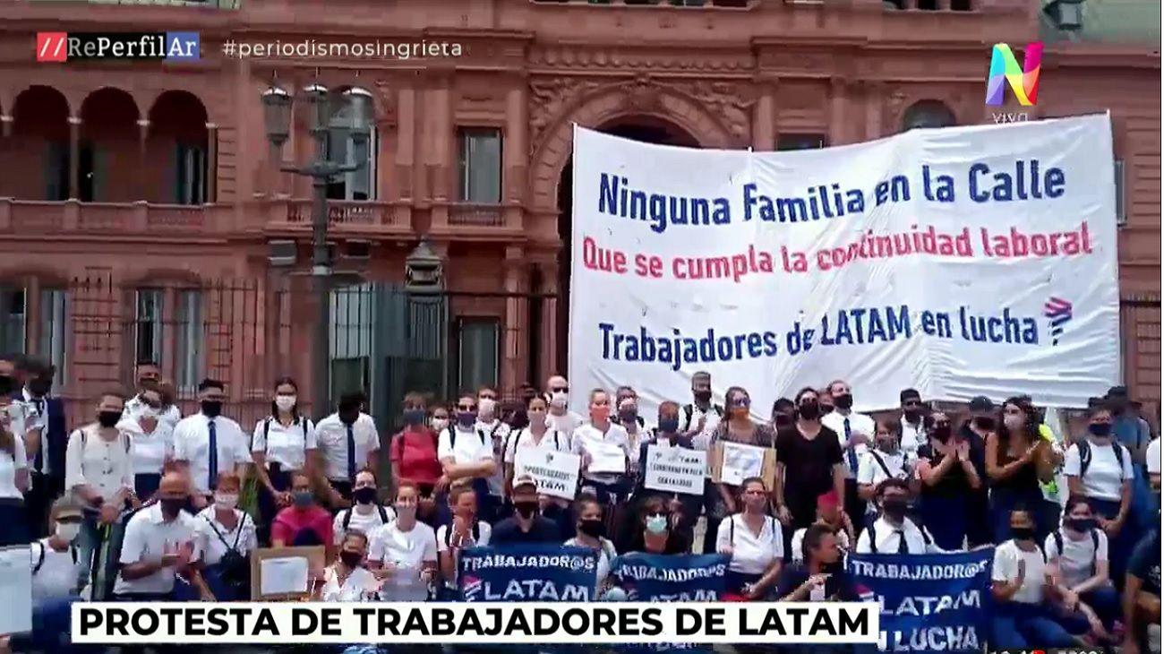 Trabajadores de Latam se manifestaron frente a Casa Rosada