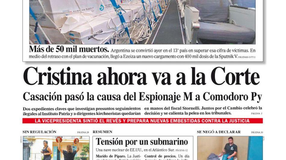 La tapa del Diario PERFIL del sábado 13 de febrero de 2021.