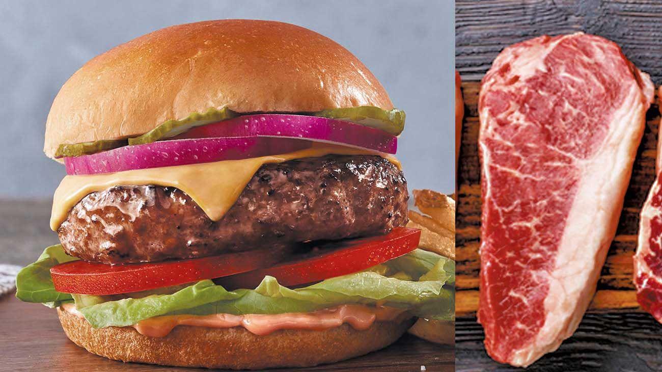 """Opción. La hamburguesa de Beyond Meat, la empresa de Los Angeles que abrió el mercado, y los bifes que """"cultiva"""" el laboratorio israelí Aleph Farms."""