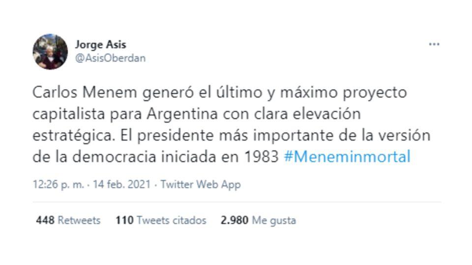 Tuit Jorge Asís Menem