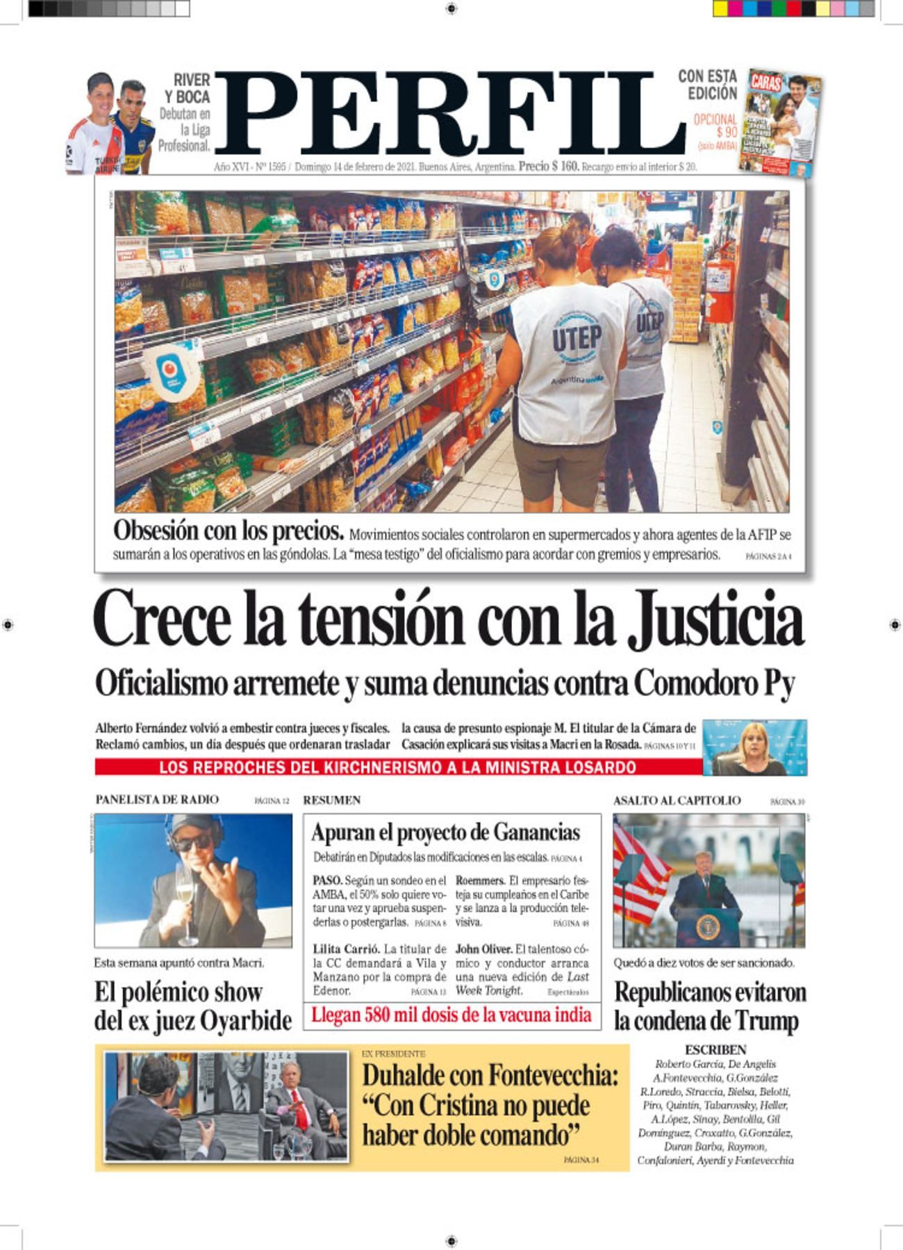 La tapa del Diario PERFIL de este domingo 14 de febrero.