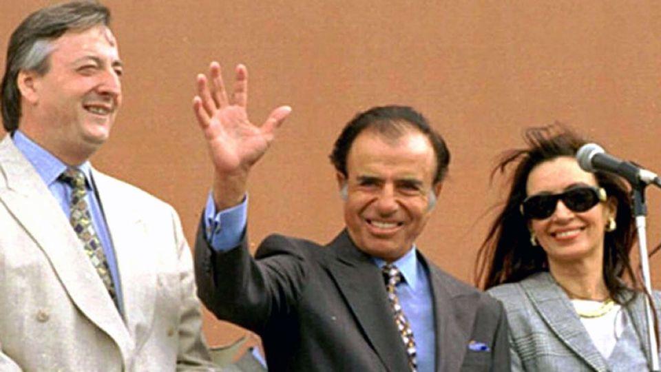 Los ex presidentes Carlos Menem junto a Néstor y Cristina Kirchner