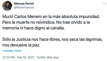 Tweet del intendente de Río Tercero.