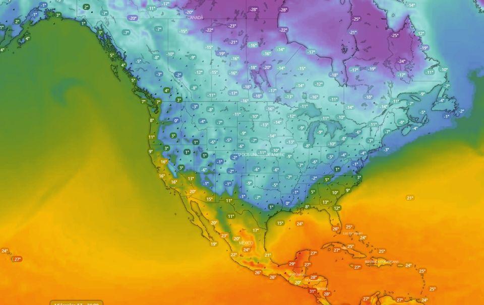Estados Unidos sumergido en una tormenta de nieve.