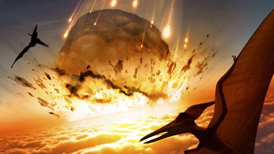Dinosaurios son alcanzados por meteoritos que terminan con sus vidas.