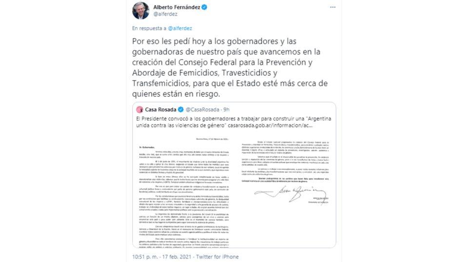 Alberto Fernández Tuit Femicidios