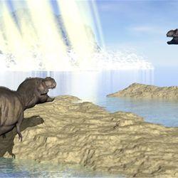 La probabilidad que un asteroide de al menos 6.2 millas de diámetro cause un evento de choque en Chicxulub es de uno cada 350 millones de años.