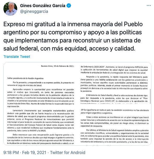 Tweet del ex ministro Ginés González García.