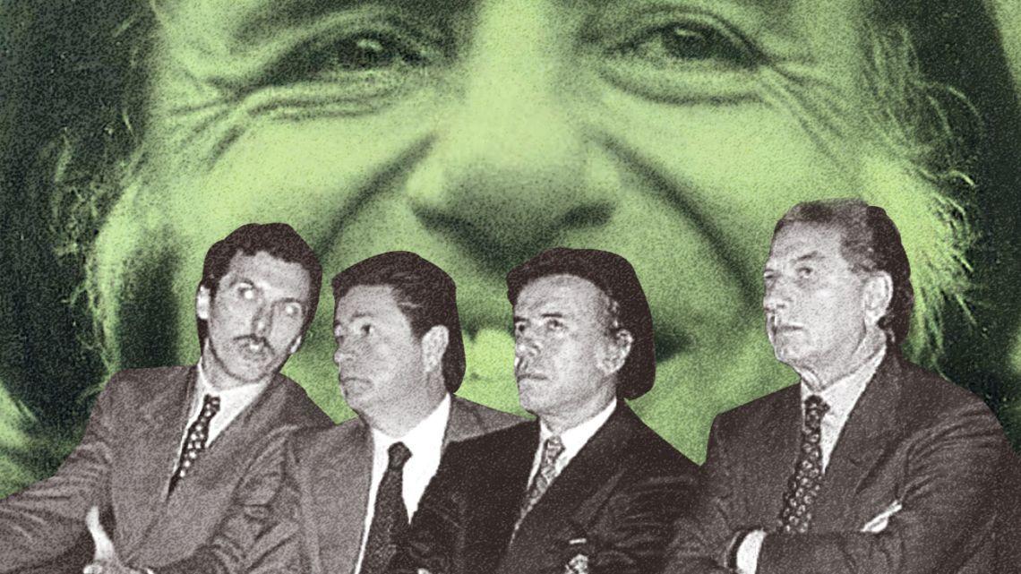 From left to right: Mauricio Macri, Eduardo Duhalde, Carlos Menem, Franco Macri.
