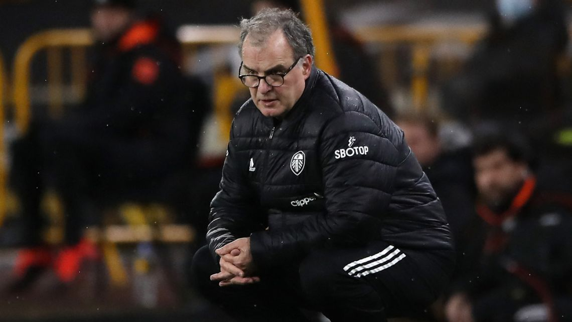 Marcelo Bielsa watches on from the touchline during the English Premier League football match between Wolverhampton Wanderers and Leeds United at the Molineux stadium in Wolverhampton, England, on February 19, 2021.