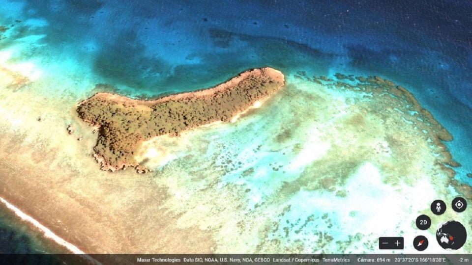 Con más de 500 metros de largo, se puede encontrar dentro de las islas tropicales Trinity frente a la costa de Nueva Caledonia, Oceanía, de propiedad francesa.