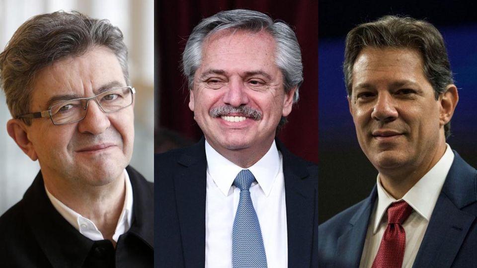 el diputado francés Jean Luc Melenchon; el presidente Alberto Fernández y al ex candidato presidencial del Partido de los Trabajadores Fernando Haddad.