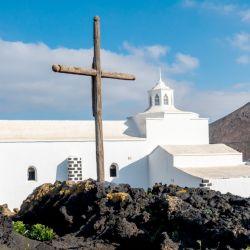 El Santuario y Ermita de Mancha Blanca, en Lanzarote. Foto: Andreas Drouve/dpa Credit: Andreas Drouve/dpa