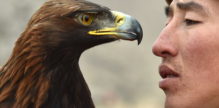 """Un berkutchi (cazador de águilas) kirguís sostiene a su pájaro, un águila real, durante el festival de caza """"Salburun"""" en la aldea de Tuura-Suu, cerca del lago Issyk-Kule."""