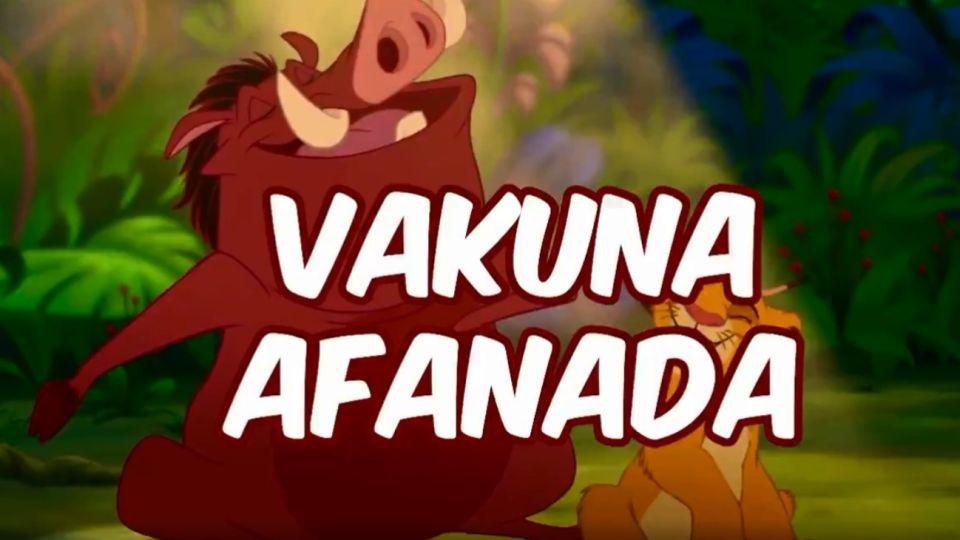 """""""Vakuna afanada"""", en las redes cambiaron la letra de una canción de El Rey León para apuntar al Vacunatorio VIP."""
