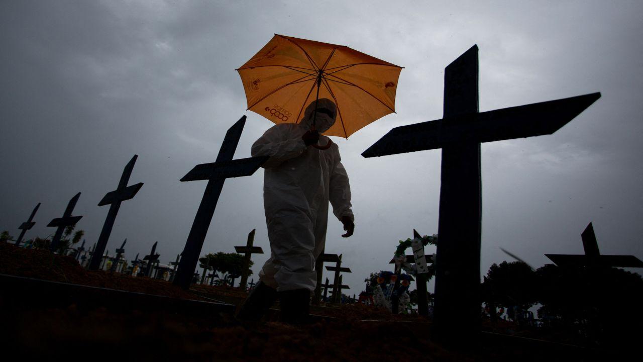 Un trabajador vestido con traje protector y portando un paraguas pasa junto a las tumbas de las víctimas del COVID-19 en el cementerio de NossaSenhora Aparecida, en Manaus, Brasil superó las 250.000 muertes por COVID-19. | Foto:afp