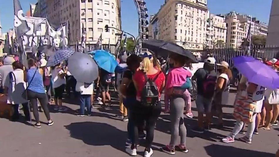 Protesta en el Obelisco de Organizaciones sociales 20210225