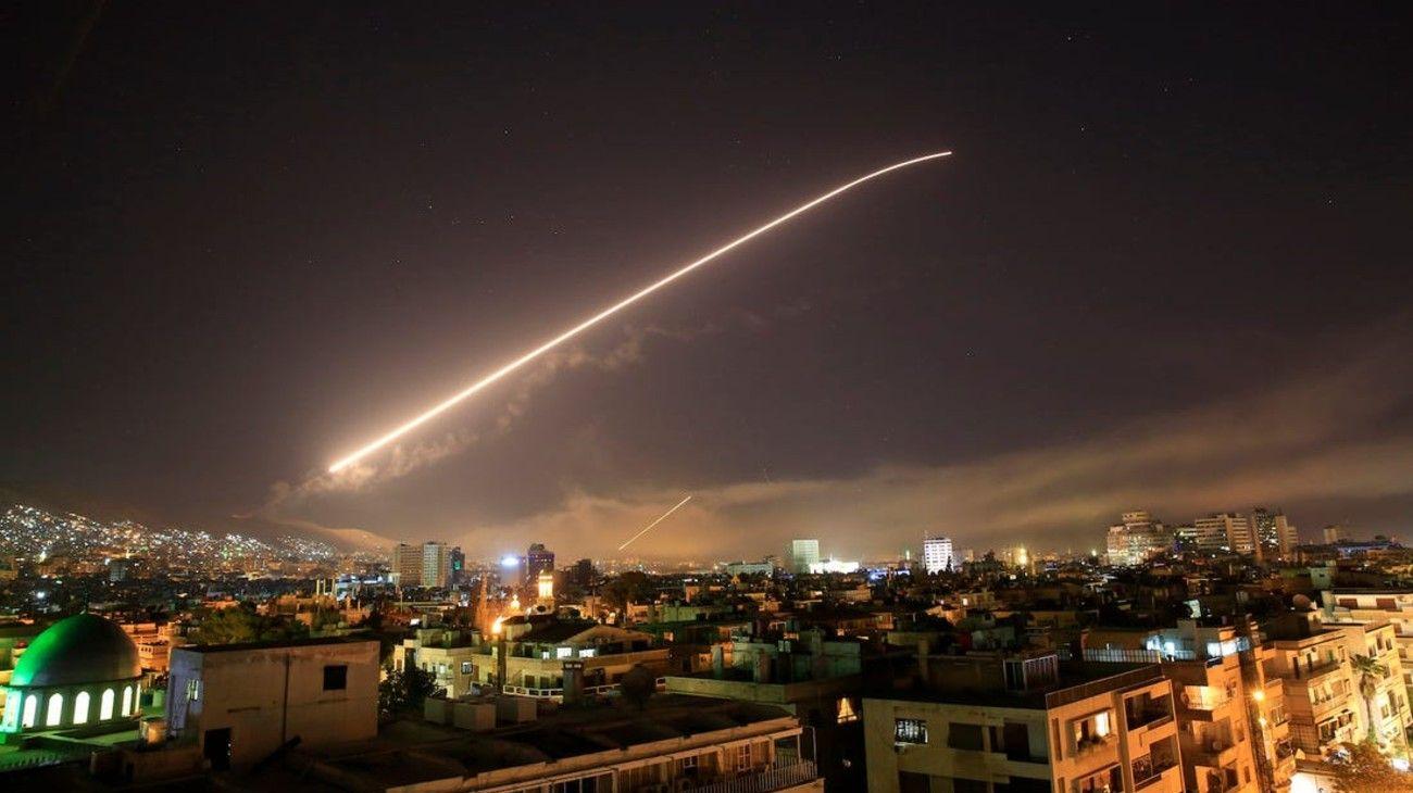 Damasco bajo el fuego de misiles, cuando Estados Unidos lanzó un ataque contra Siria el 14 de abril de 2018.