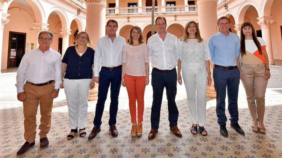 Gobernador de Entre Ríos, Gustavo Bordet, con su gabinete. 20210226